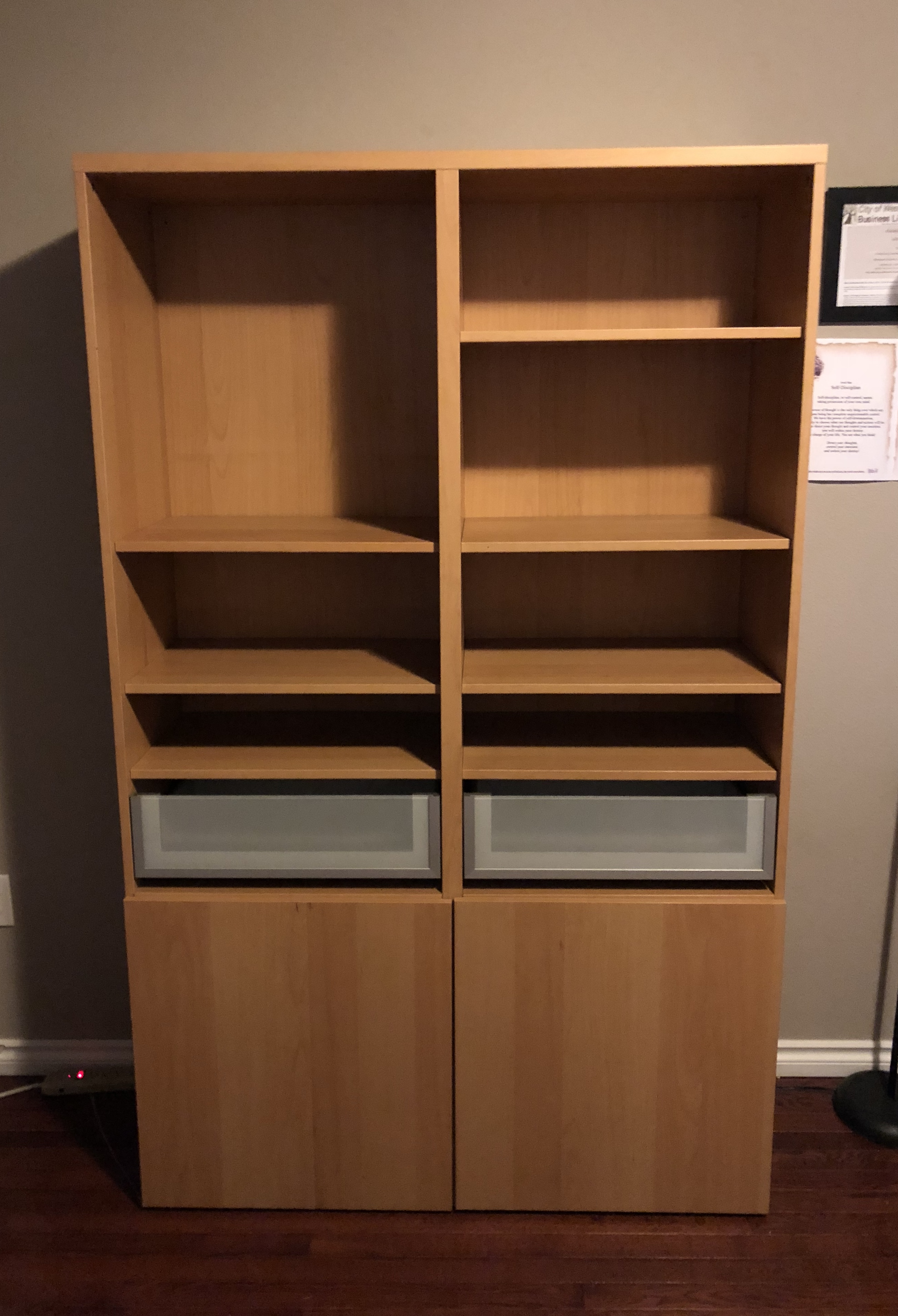 Ikea Brown Besta Bookcase With Storage And 2 Drawers Top