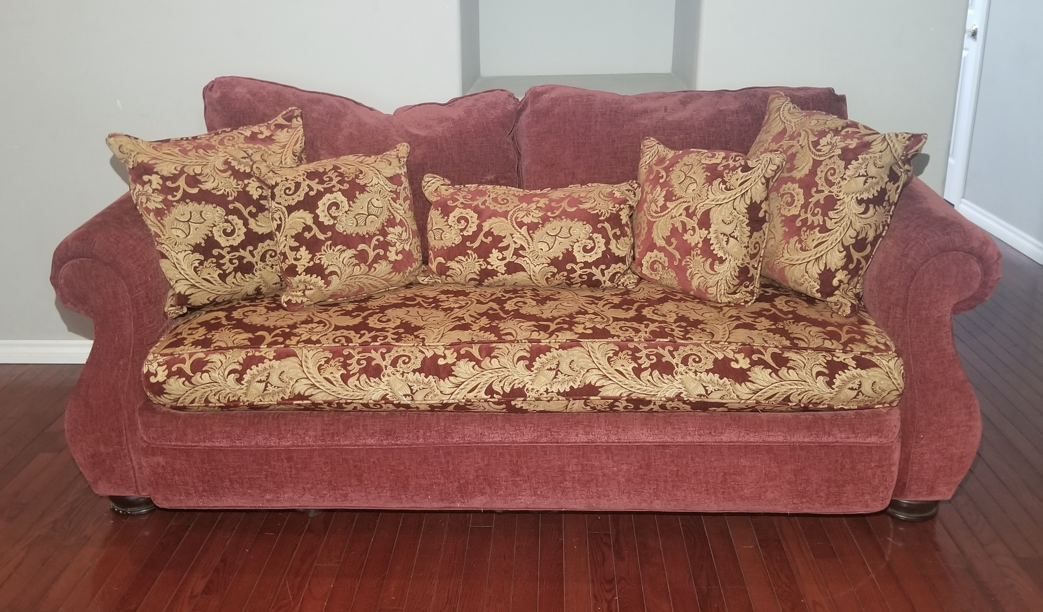#SOF103 -- Robin Bruce Red/Gold Corduroy 3-Seat Bench Style Couch w/ 5 Throw