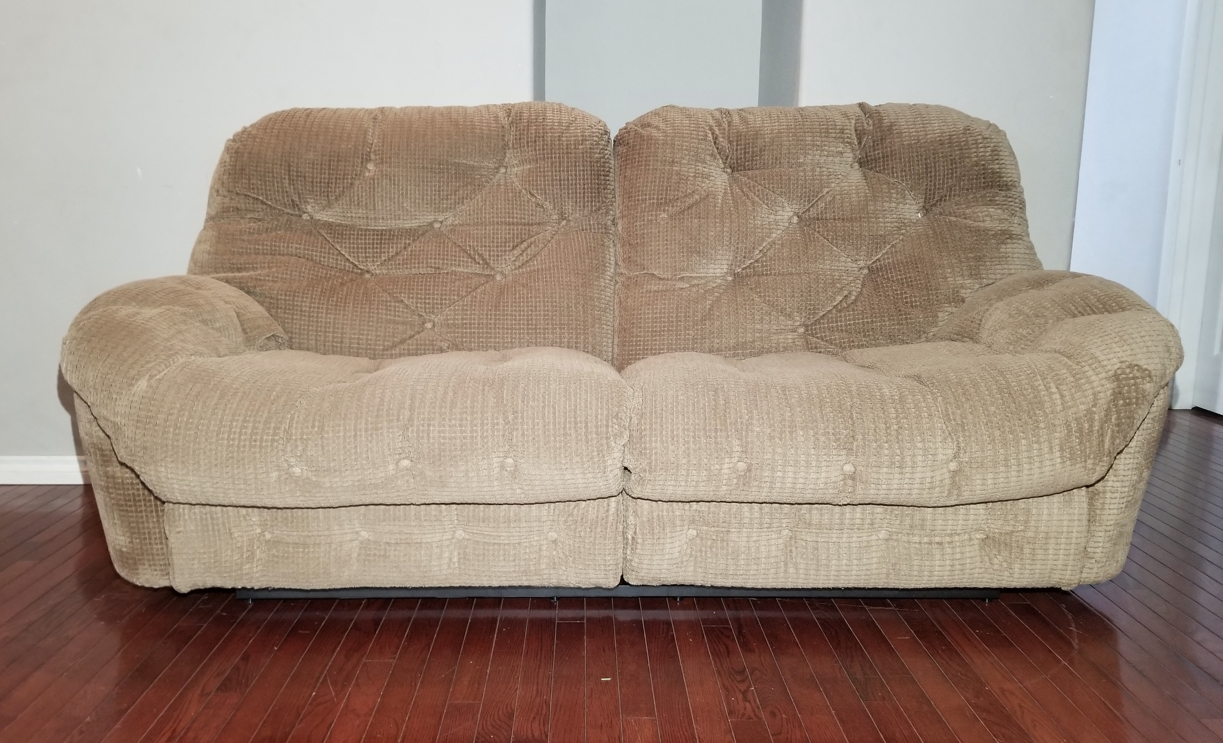 #SOF109 -- Klaussner Light Brown Corduroy Oversized Wide 2-Seat Reclining  Couch